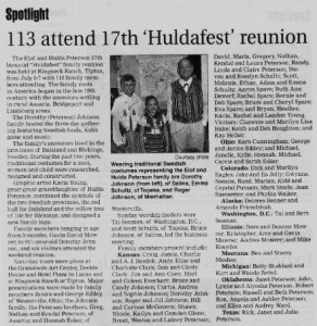 Huldafest article edit