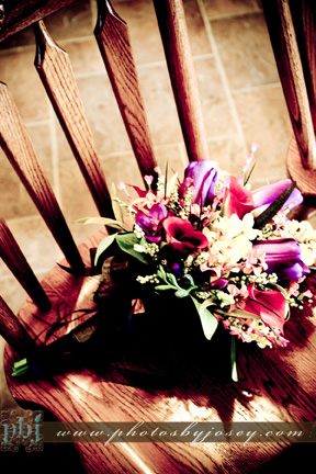 Flowers on Wooden Chair