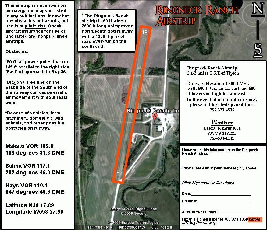 Ringneck Ranch Private Airstrip Tipton Kansas